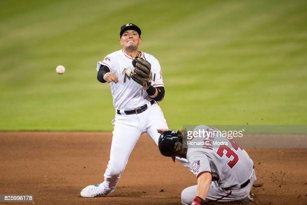 Miguel Rojas of the Miami Marlins throws to first base during a MLB game against the Washington Nationals at Marlins Park on July 31 2017 in Miami...