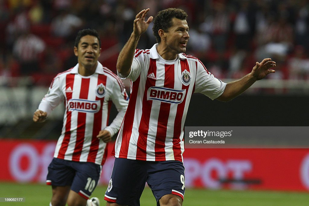 Miguel Sabah of Chivas celebrates a goal during the match between Chivas and Toluca as part of the Clausura 2013 Liga MX tournament at Omnilife Stadium on January 06, 2013 in Guadalajara, Mexico.