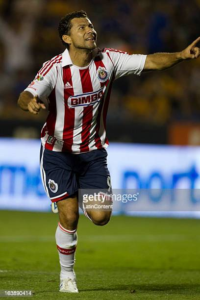 Miguel Sabah of Chivas celebrates a goal during the match between Tigres and Chivas as part of the Clausura 2013 Liga MX on March 16 2013 in...