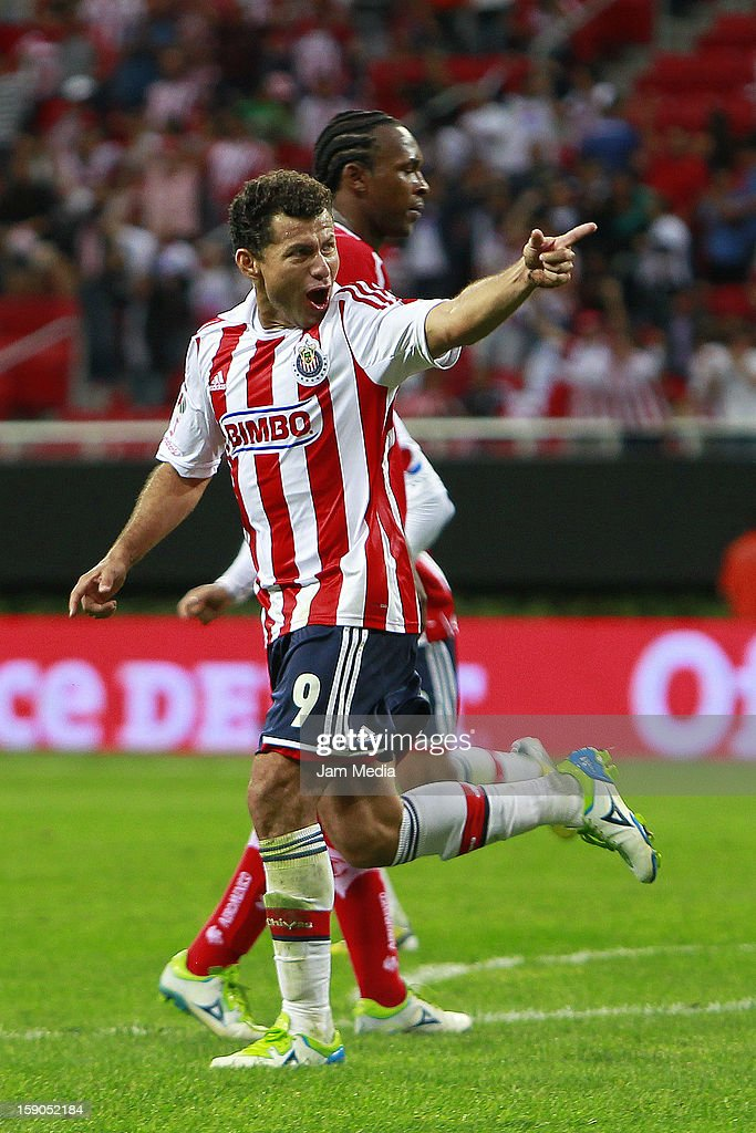 Miguel Sabah of Chivas celebrates score a goal against Toluca during the match between Chivas and Toluca as part of the Clausura 2013 Liga MX tournament at Omnilife Stadium on January 06, 2013 in Guadalajara, Mexico.