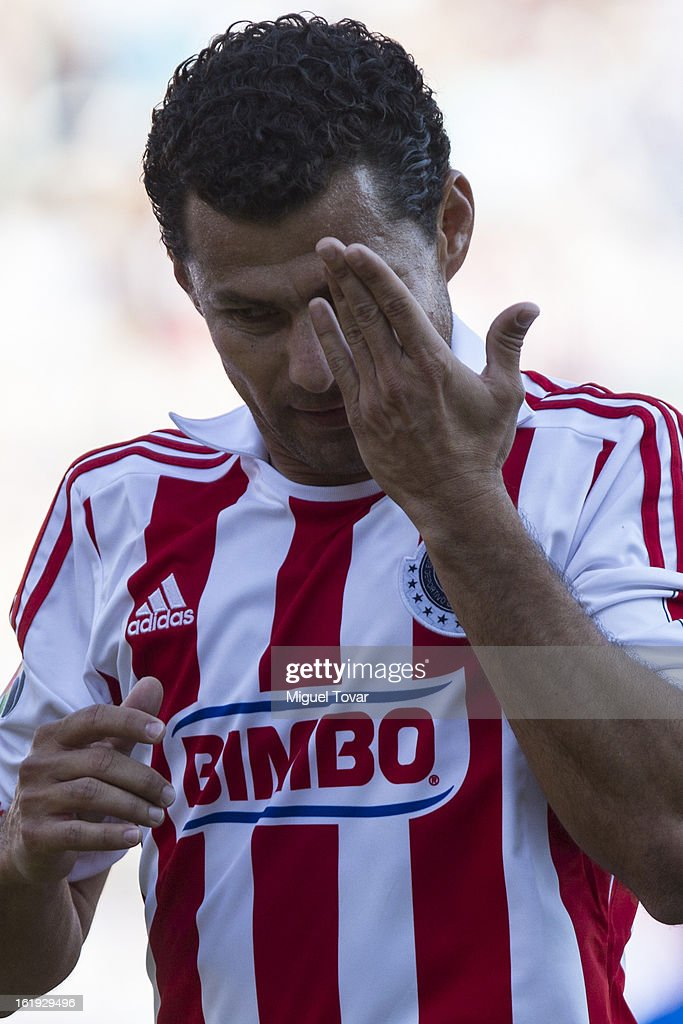 Miguel Sabah of Chivas reacts during a match between Puebla and Chivas as part of the Clausura 2013 at Cuauhtemoc Stadium on February 17, 2013 in Puebla, Mexico.