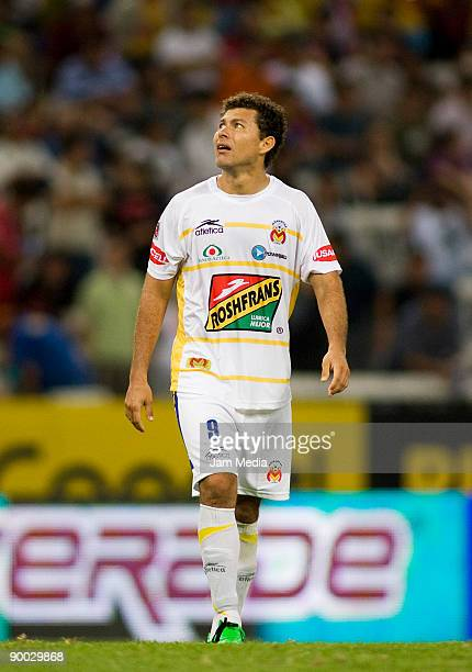Miguel Sabah of Monarcas Morelia during the match against Atlas for the 2009 Opening tournament the closing stage of the Mexican Football League at...