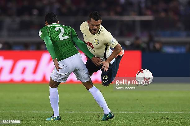 Miguel Samudio of Club America collides wih Daniel Bocanegra of Atletico Nacional during the FIFA Club World Cup 3rd place match between Club America...