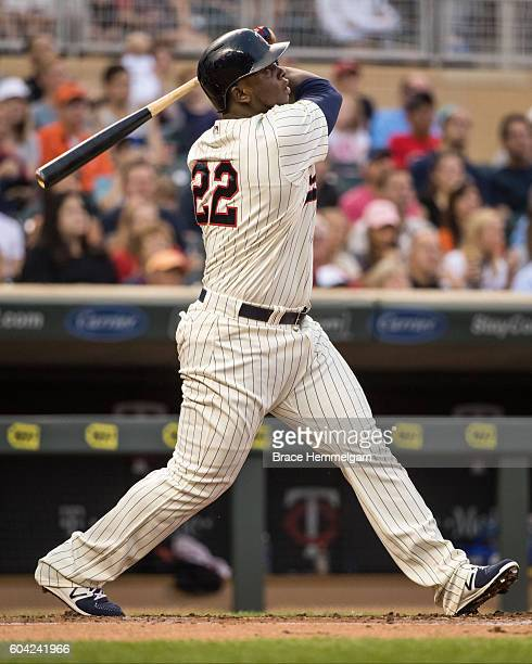Miguel Sano of the Minnesota Twins bats against the Detroit Tigers on August 24 2016 at Target Field in Minneapolis Minnesota The Tigers defeated the...