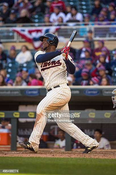 Miguel Sano of the Minnesota Twins bats against the Kansas City Royals on October 3 2015 at Target Field in Minneapolis Minnesota The Royals defeated...