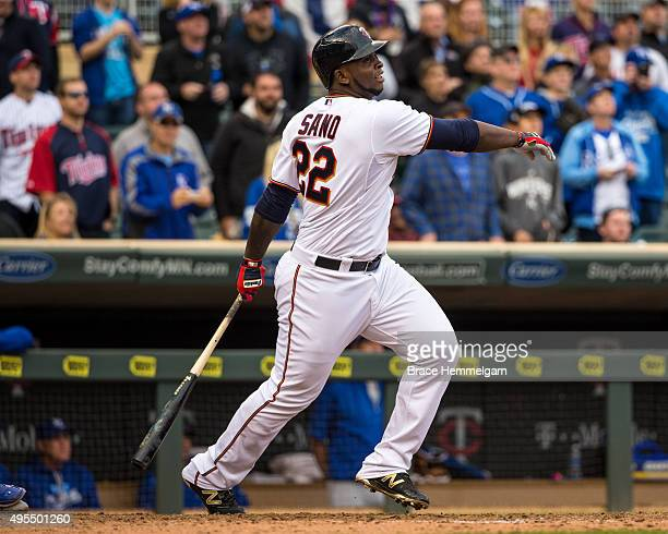 Miguel Sano of the Minnesota Twins bats against the Kansas City Royals on October 4 2015 at Target Field in Minneapolis Minnesota The Royals defeated...