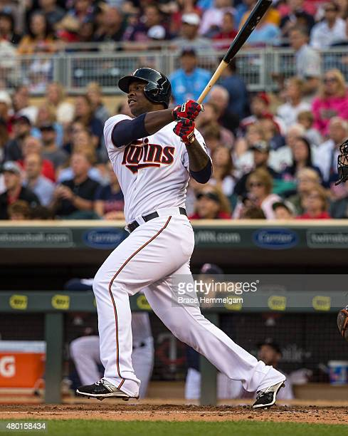 Miguel Sano of the Minnesota Twins bats and hits his first career home run against the Baltimore Orioles on July 7 2015 at Target Field in...