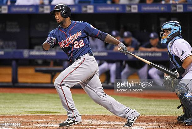 Miguel Sano of the Minnesota Twins bats during a MLB game against the Tampa Bay Rays on August 26 2015 at Tropicana Field in St Petersburg Florida