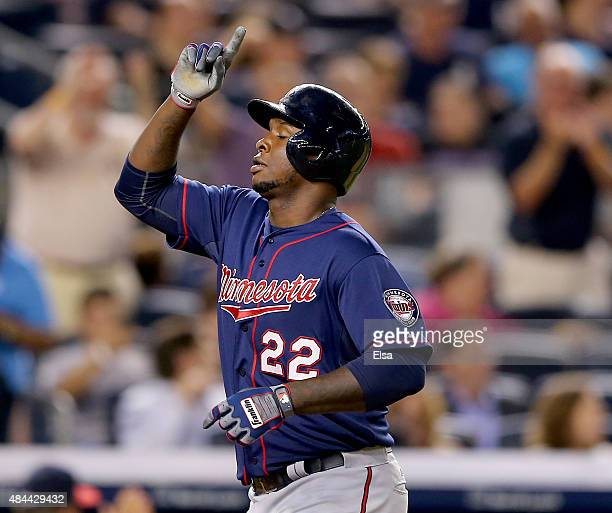 Miguel Sano of the Minnesota Twins celebrates his two run home run in the seventh inning against the New York Yankees on August 18 2015 at Yankee...