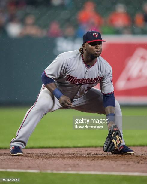 Miguel Sano of the Minnesota Twins fields against the Baltimore Orioles on May 23 2017 at Oriole Park at Camden Yards in Baltimore Maryland The Twins...