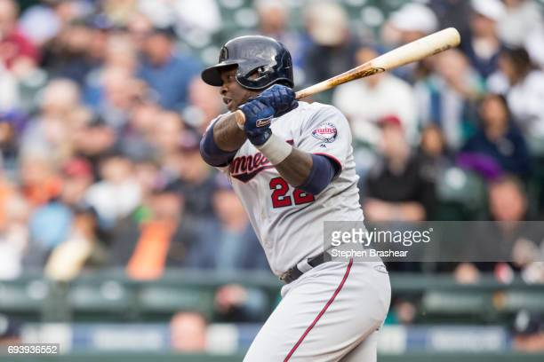 Miguel Sano of the Minnesota Twins hits a single off of starting pitcher Christian Bergman of the Seattle Mariners during the first inning of a game...