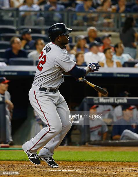 Miguel Sano of the Minnesota Twins hits a two run home run against the New York Yankees in the third inning during their game at Yankee Stadium on...