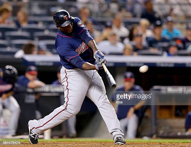 Miguel Sano of the Minnesota Twins hits a two run home run in the seventh inning against the New York Yankees on August 18 2015 at Yankee Stadium in...
