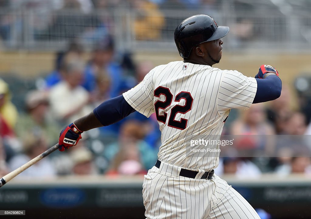 Miguel Sano #22 of the Minnesota Twins hits a two-run home run against the Kansas City Royals during the fifth inning of the game on May 25, 2016 at Target Field in Minneapolis, Minnesota. The Twins defeated the Royals 7-5.