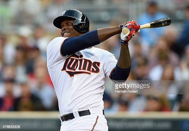 Miguel Sano of the Minnesota Twins hits tworun home run against the Baltimore Orioles for his first career home run during the first inning of the...