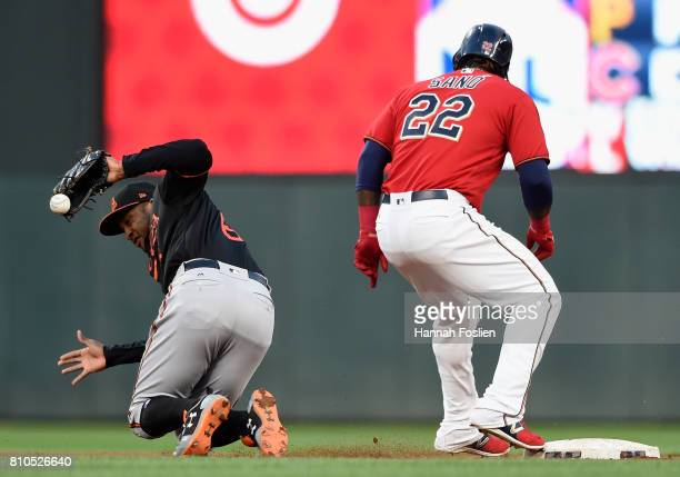 Miguel Sano of the Minnesota Twins is safe at second base as Jonathan Schoop of the Baltimore Orioles fields the ball during the fourth inning of the...