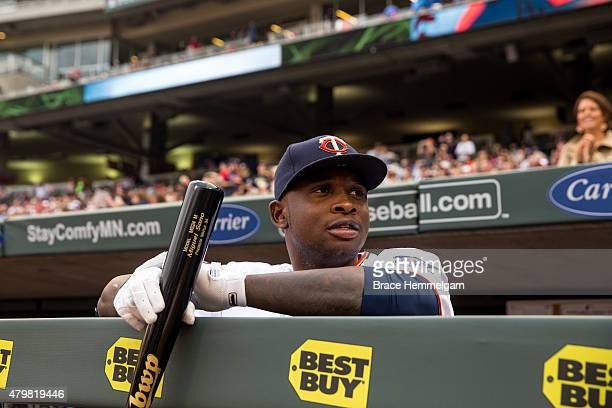Miguel Sano of the Minnesota Twins looks on against the Baltimore Orioles on July 6 2015 at Target Field in Minneapolis Minnesota The Twins defeated...