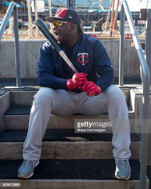Miguel Sano of the Minnesota Twins looks on and licks the bat prior to the game against the Los Angeles Dodgers on July 25 2017 at Dodger Stadium in...
