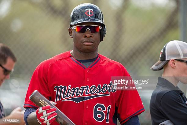 Miguel Sano of the Minnesota Twins looks on on February 28 2015 at the CenturyLink Sports Complex in Fort Myers Florida