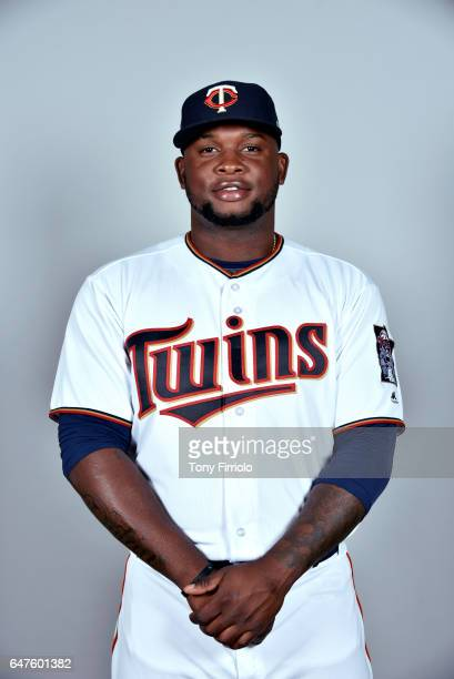 Miguel Sano of the Minnesota Twins poses during Photo Day on Thursday February 23 2017 at Hammond Stadium in Fort Myers Florida