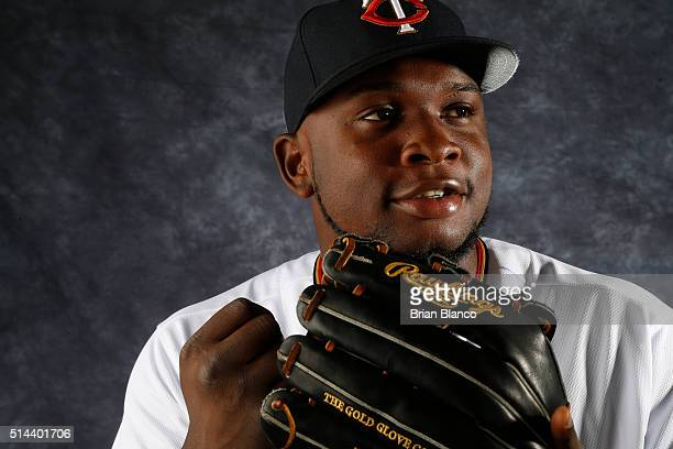 Miguel Sano of the Minnesota Twins poses for a photo during the Twins' photo day on March 1 2016 at Hammond Stadium in Ft Myers Florida