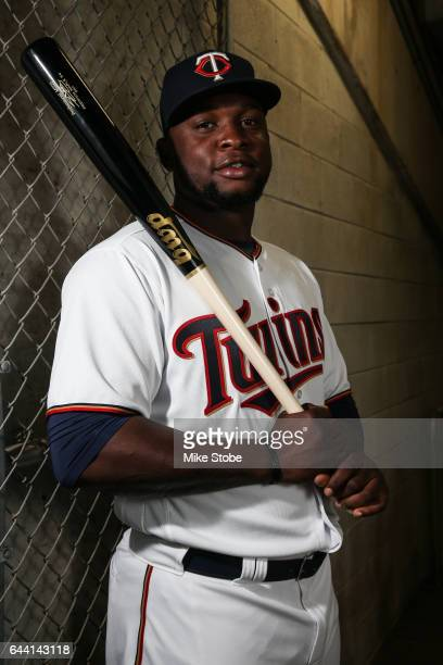Miguel Sano of the Minnesota Twins poses for a portait during a MLB photo day at CenturyLink Sports Complex Hammond Stadium on February 23 2017 in...
