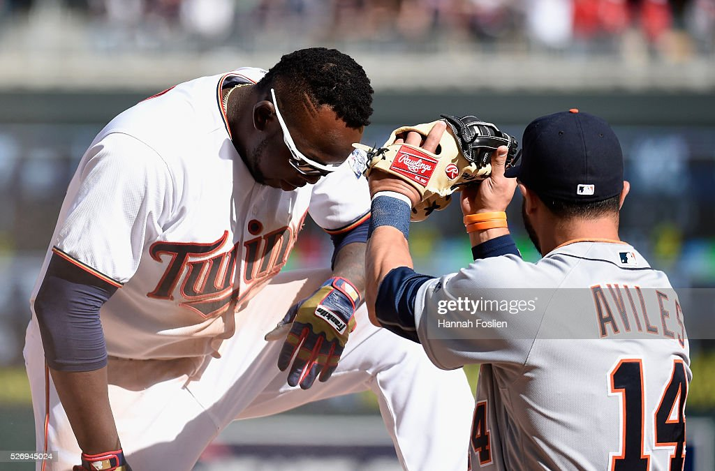 Miguel Sano #22 of the Minnesota Twins reacts after Mike Aviles #14 of the Detroit Tigers tags him out at third base attempting to stretch a double into a triple to end the game in the ninth inning on May 1, 2016 at Target Field in Minneapolis, Minnesota. The Tigers defeated the Twins 6-5.