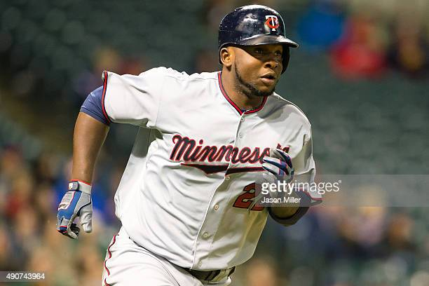 Miguel Sano of the Minnesota Twins rounds the bases after hitting a solo home run during the eighth inning against the Cleveland Indians at...