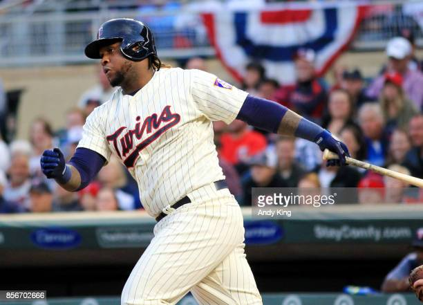 Miguel Sano of the Minnesota Twins singles against the Detroit Tigers in the first inning during of their baseball game on September 30 at Target...