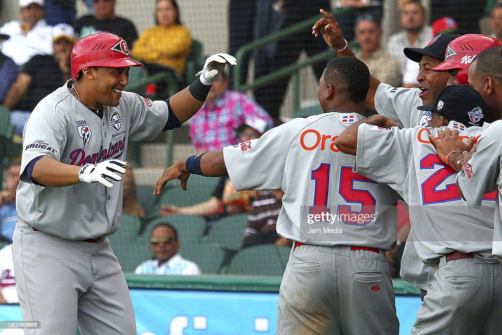 <a gi-track='captionPersonalityLinkClicked' href=/galleries/search?phrase=Miguel+Tejada&family=editorial&specificpeople=202227 ng-click='$event.stopPropagation()'>Miguel Tejada</a> of Republica Dominicana celebrates during the Caribbean Series Baseball 2013 in Sonora Stadium on february 2, 2013 in Hermosillo, Mexico.
