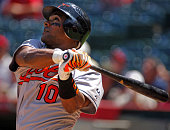 Miguel Tejada of the Baltimore Orioles bats during 84 loss to the Los Angeles Angels of Anaheim at Angel Stadium in Anaheim Calif on Wednesday...