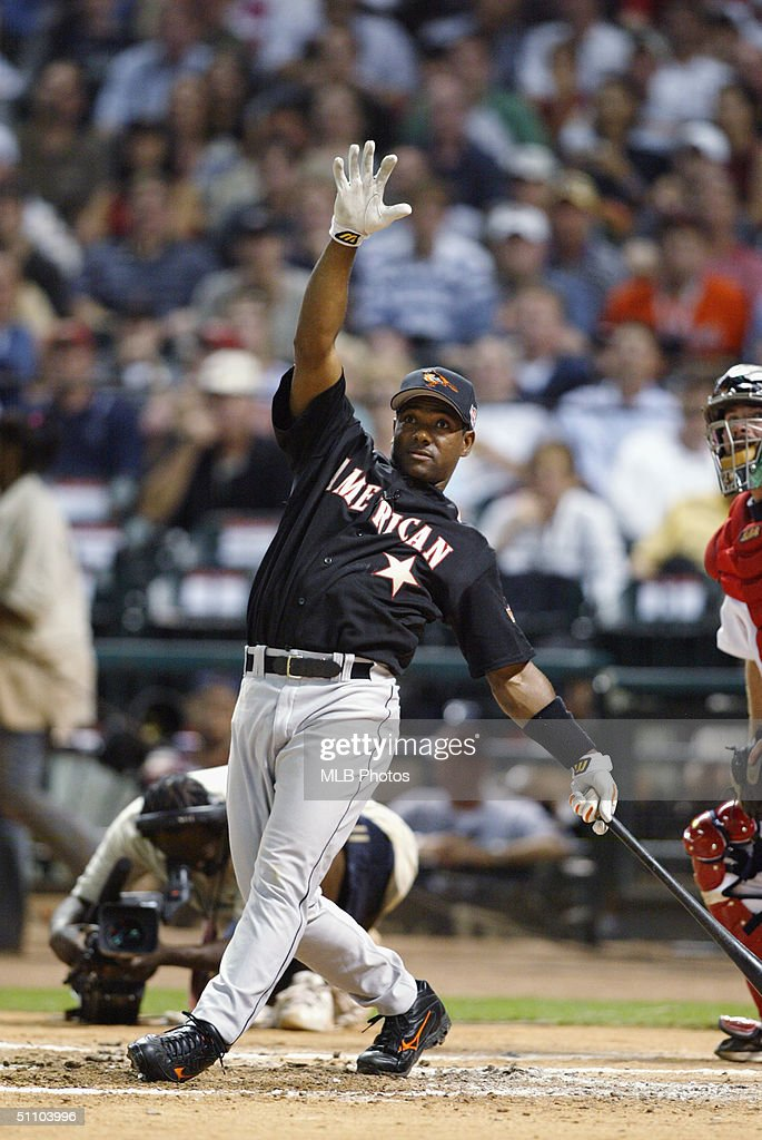 Miguel Tejada of the Baltimore Orioles bats during the CENTURY 21 Home Run Derby at Minute Maid Park on July 12 2004 in Houston Texas