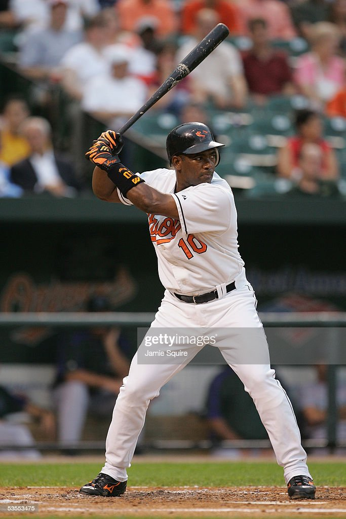 Miguel Tejada of the Baltimore Orioles bats during the game against the Tampa Bay Devil Rays on August 9 2005 at Camden Yards in Baltimore Maryland