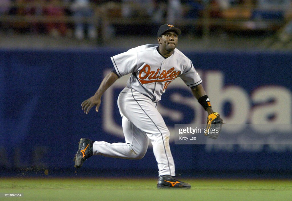 Miguel Tejada of the Baltimore Orioles during 63 loss to the Los Angeles Dodgers at Dodger Stadium on Wednesday June 16 2004
