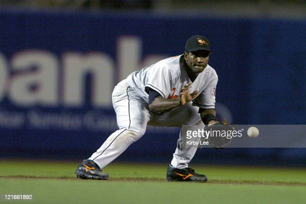 Miguel Tejada of the Baltimore Orioles fields a ground ball by Paul Do Luca of the Los Angeles Dodgers to start a fifthinning double play during 63...