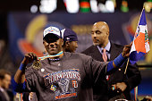 Miguel Tejada of the Dominican Republic celebrates after defeating Puerto Rico to win the Championship Round of the 2013 World Baseball Classic by a...