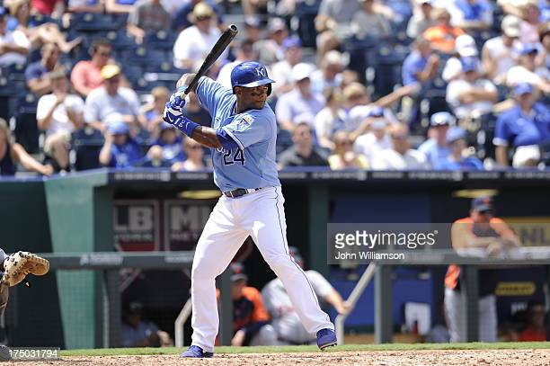 Miguel Tejada of the Kansas City Royals bats against the Detroit Tigers on July 21 2013 at Kauffman Stadium in Kansas City Missouri The Tigers won 41