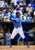 Miguel Tejada of the Kansas City Royals bats during the game against the Oakland Athletics at Kauffman Stadium on July 7 2013 in Kansas City Missouri