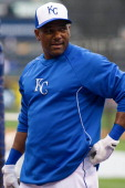 Miguel Tejada of the Kansas City Royals during batting practice before the game against the Minnesota Twins on April 8 2013 at Kauffman Stadium in...