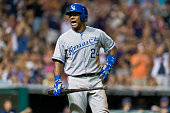 Miguel Tejada of the Kansas City Royals reacts after lining out to first to end the top if the eighth inning with men on base against the Cleveland...