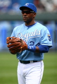 Miguel Tejada of the Kansas City Royals warms up before a game against the Chicago White Sox at Kauffman Stadium on May 5 2013 in Kansas City...
