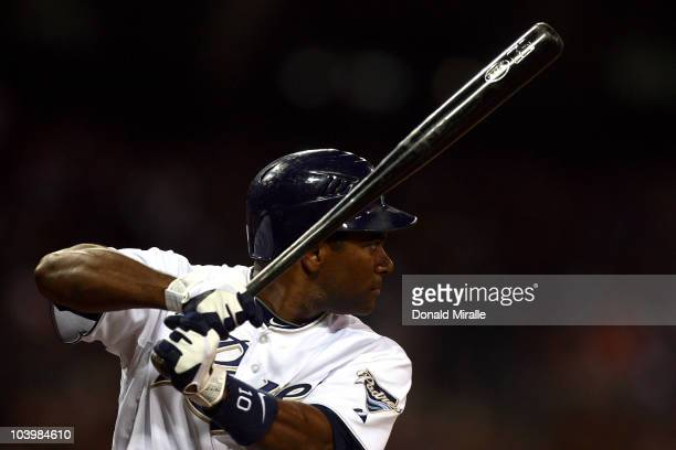 Miguel Tejada of the San Diego Padres at bat against the San Francisco Giants during their MLB game on September 10 2010 at Petco Park in San Diego...