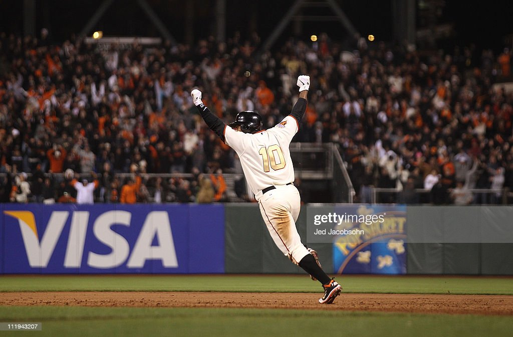 <a gi-track='captionPersonalityLinkClicked' href=/galleries/search?phrase=Miguel+Tejada&family=editorial&specificpeople=202227 ng-click='$event.stopPropagation()'>Miguel Tejada</a> #10 of the San Francisco Giants celebrates after the game winning hit in the ninth inning against the St. Louis Cardinals at AT&T Park on April 9, 2011 in San Francisco, California.