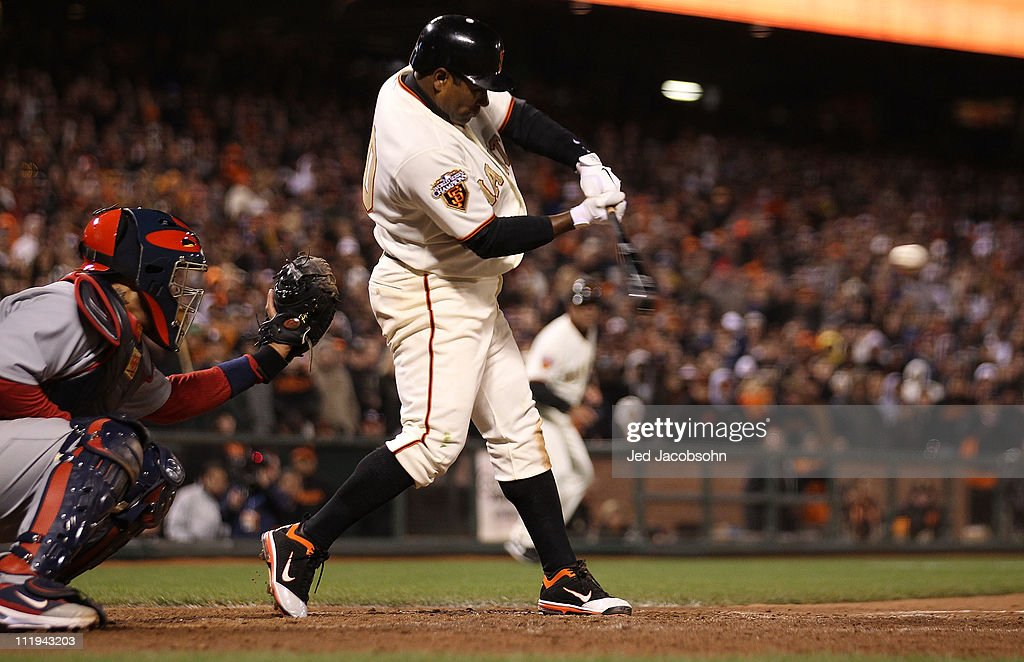<a gi-track='captionPersonalityLinkClicked' href=/galleries/search?phrase=Miguel+Tejada&family=editorial&specificpeople=202227 ng-click='$event.stopPropagation()'>Miguel Tejada</a> #10 of the San Francisco Giants collects the game winning hit in the ninth inning against the St. Louis Cardinals at AT&T Park on April 9, 2011 in San Francisco, California.