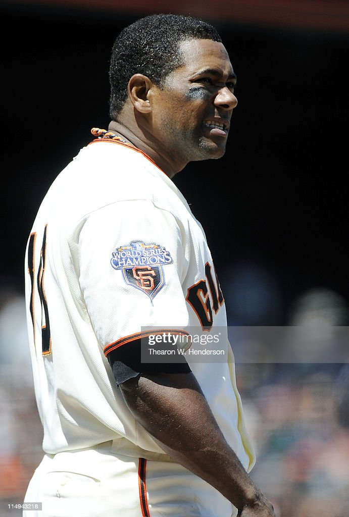 Miguel Tejada #10 of the San Francisco Giants looks on after stiking out against the Florida Marlins during a MLB baseball game at AT&T Park May 26, 2011 in San Francisco, California. The Marlins won the game 1-0.