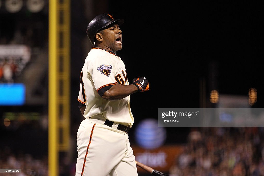 <a gi-track='captionPersonalityLinkClicked' href=/galleries/search?phrase=Miguel+Tejada&family=editorial&specificpeople=202227 ng-click='$event.stopPropagation()'>Miguel Tejada</a> #10 of the San Francisco Giants reacts after lining out to end the eighth inning of their game against the San Diego Padres at AT&T Park on August 23, 2011 in San Francisco, California.