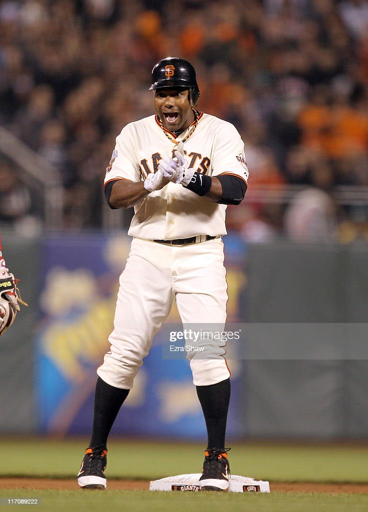 <a gi-track='captionPersonalityLinkClicked' href=/galleries/search?phrase=Miguel+Tejada&family=editorial&specificpeople=202227 ng-click='$event.stopPropagation()'>Miguel Tejada</a> #10 of the San Francisco Giants reacts during their game against the Cincinnati Reds at AT&T Park on June 9, 2011 in San Francisco, California.