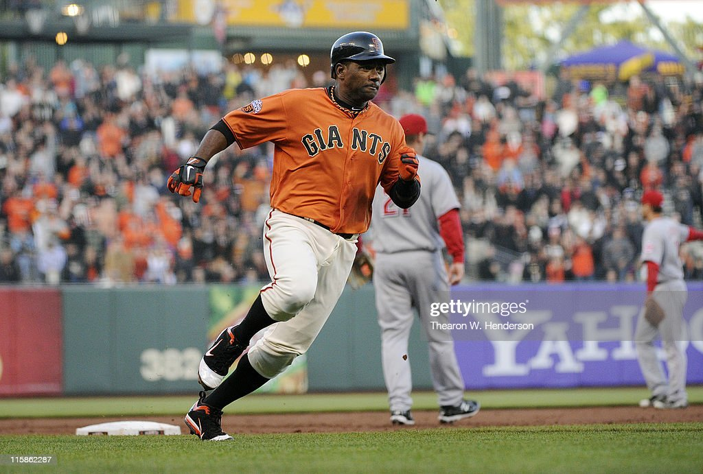 <a gi-track='captionPersonalityLinkClicked' href=/galleries/search?phrase=Miguel+Tejada&family=editorial&specificpeople=202227 ng-click='$event.stopPropagation()'>Miguel Tejada</a> #10 of the San Francisco Giants rounds third base and scores against the Cincinnati Reds in the first inning during a MLB baseball game June 10, 2011 at AT&T Park in San Francisco, California.