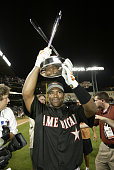 Miguel Tejada poses with his trophy during the 2004 AllStar Game Home Run Derby at Minute Maid Field on July 12 2004 in Houston TX
