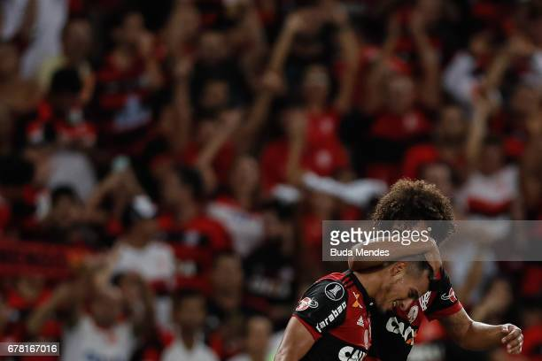 Miguel Trauco and Willian Aro of Flamengo celebrate scored goal against Universidad Catolica during a match between Flamengo and Universidad Catolica...